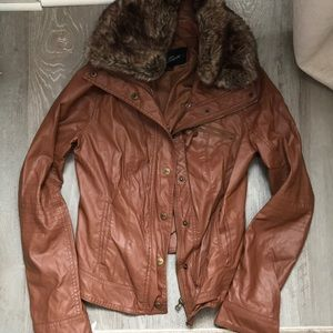 Guess leather dark tan jacket with detachable fur